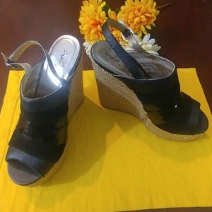 Qupid Black Strap Wedge Shoes